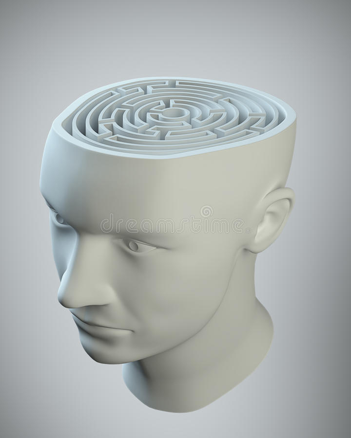 Head With A Labyrinth Inside Royalty Free Stock Photos