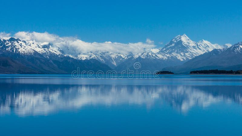 Mt. Cook / Aoraki is New Zealand's tallest mountain. At the head of Lake Pukaki, Mt. Cook / Aoraki is New Zealand's tallest mountain. Located in royalty free stock photo