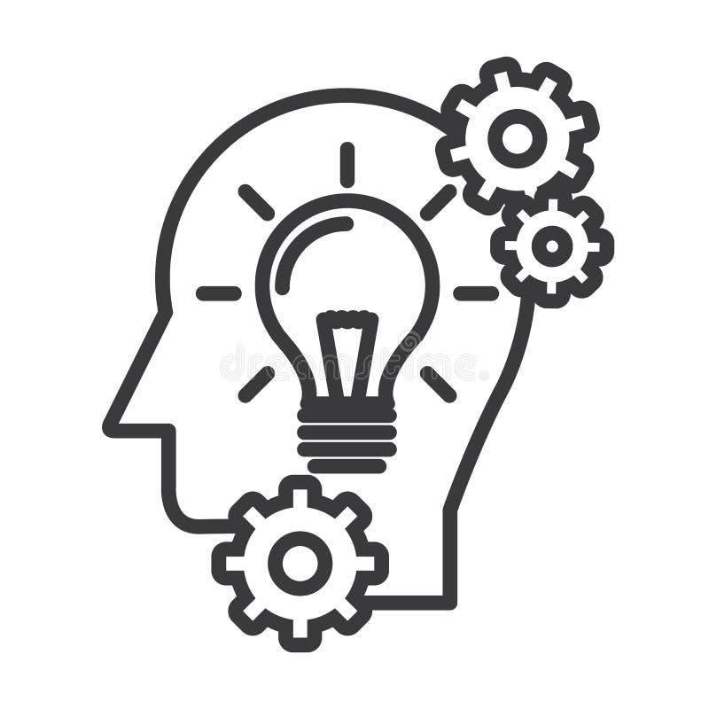 Head with lamp,idea generation vector line icon, sign, illustration on background, editable strokes stock illustration