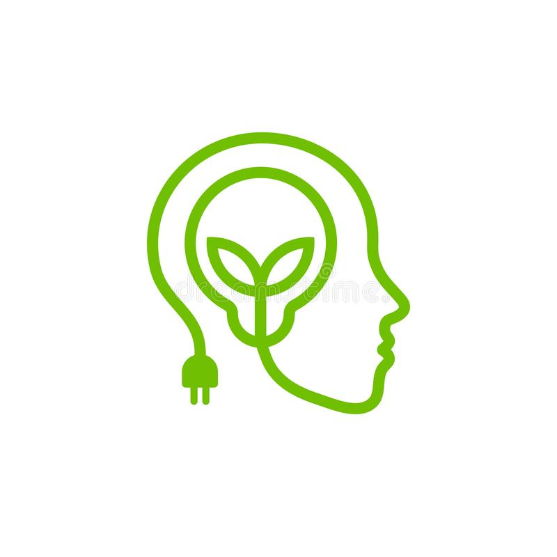 Head with lamp and leaves, green linear logo. Renewable energy symbol. royalty free illustration