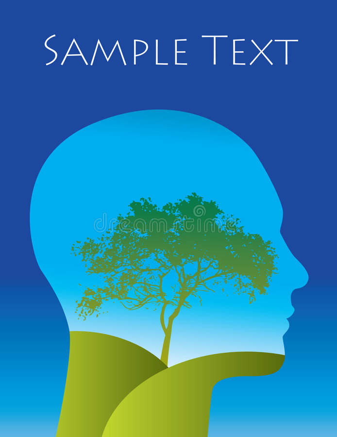 Head with landscape vector illustration
