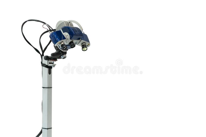 Head lens unit of high technology and modern automatic 3d laser scan for measuring or reverse engineering industrial manufacture stock photo