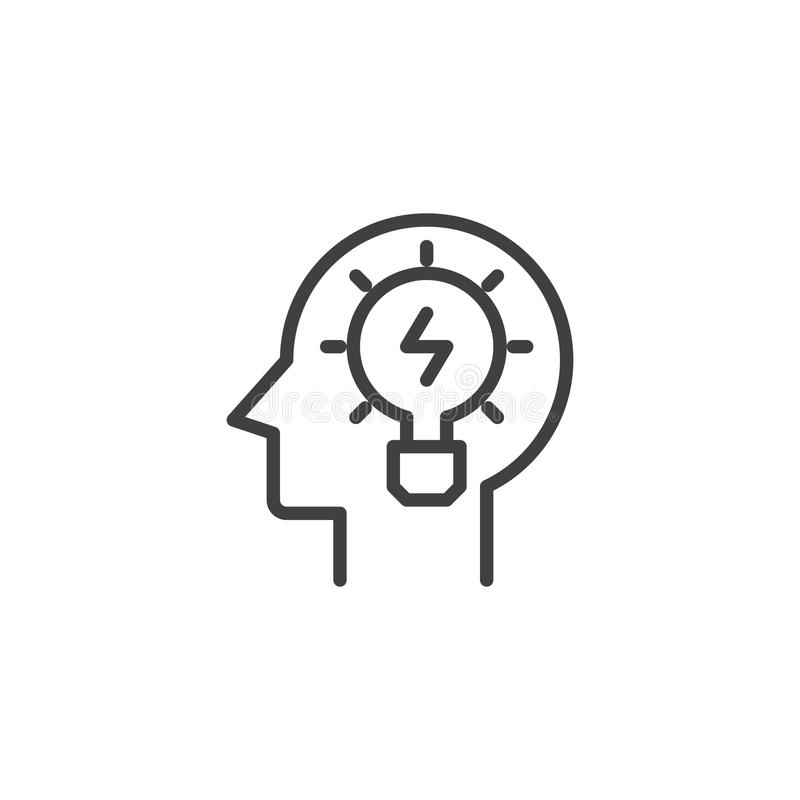 Head with light bulb outline icon. Linear style sign for mobile concept and web design. Lamp in head simple line vector icon. Creativity symbol, logo vector illustration