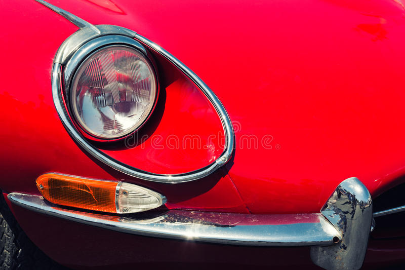 Download Headlight Of A Red Retro Car Stock Image - Image: 34742311