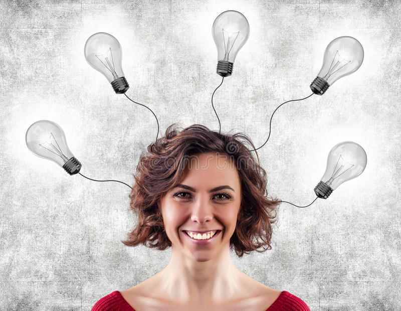 Download Head with lightbulbs stock photo. Image of female, inspiration - 28768408