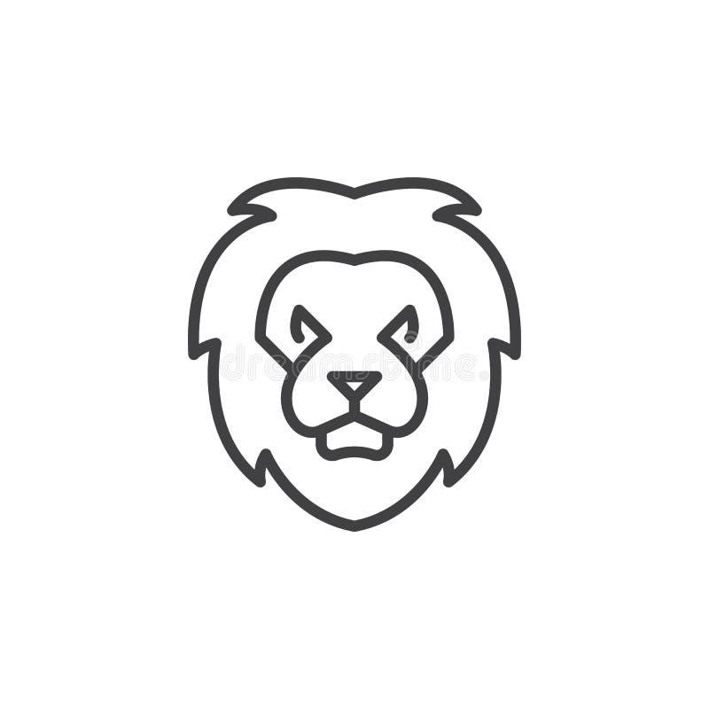 Head linje symbol, översiktsvektortecken för lejon vektor illustrationer