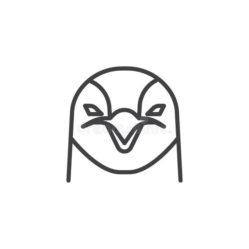 Head linje symbol för pingvin royaltyfri illustrationer