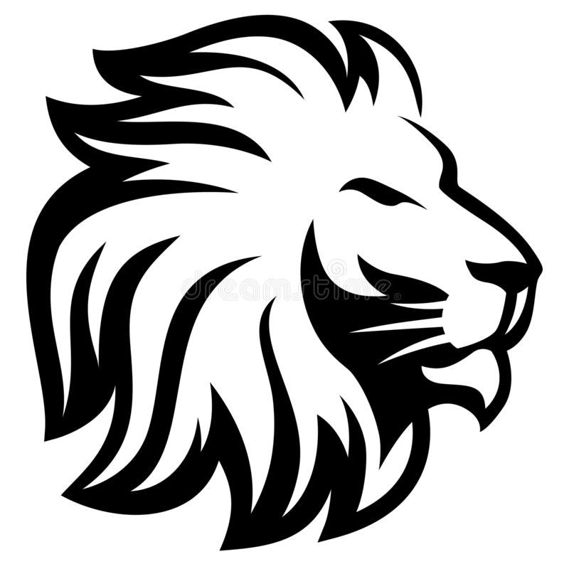 Head Lion line silhouette stock photography