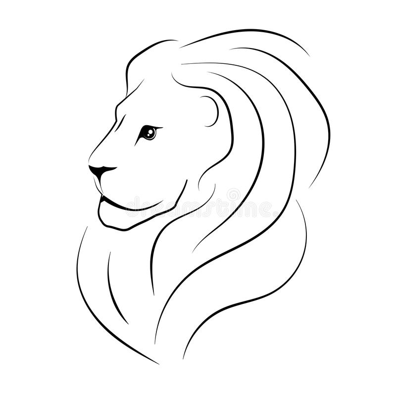 The head of the lion sideways. Black outline. Vector royalty free illustration