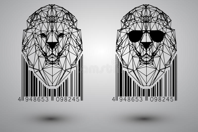 Drawing With Lines And Dots : Head of lion from triangles lines and dots with barcode stock