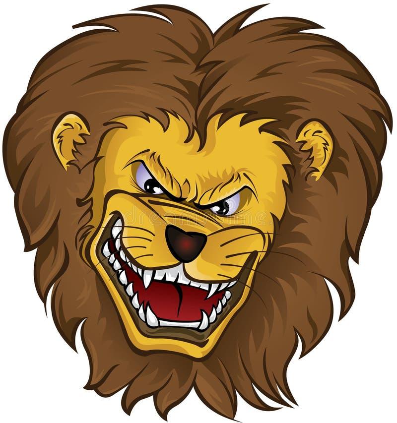 head lionmaskot stock illustrationer