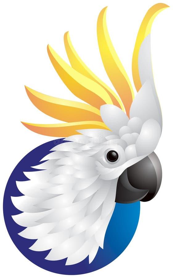 Head logo för kakadua vektor illustrationer