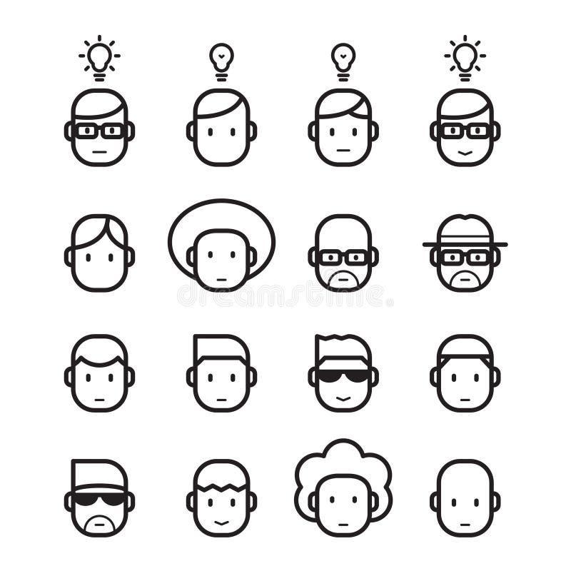 Head människa för symbol, vektor stock illustrationer