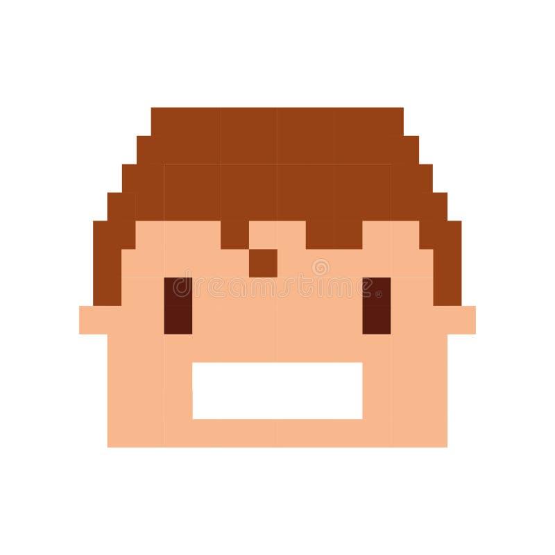 Head människa pixelated symbol vektor illustrationer