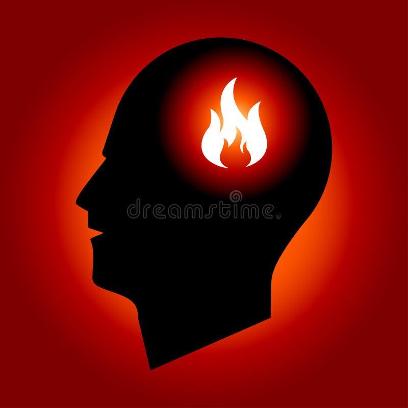 head mänskligt tecken för brand royaltyfri illustrationer