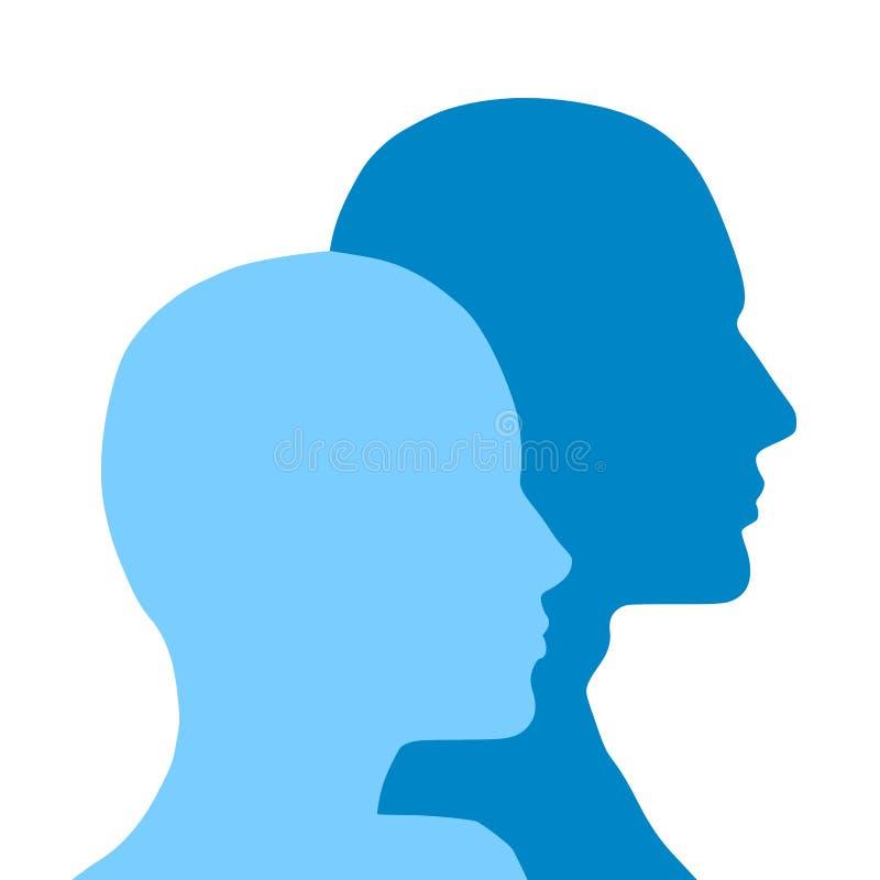 head male profiler för kvinnlig vektor illustrationer
