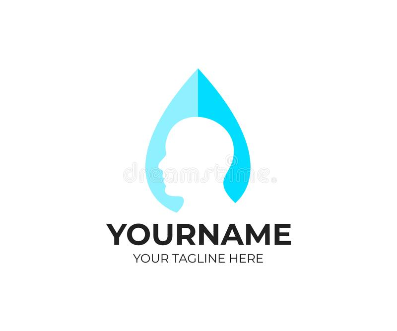 Head man in drop of water, logo template. Ð¡leanliness, health and medical, vector design vector illustration