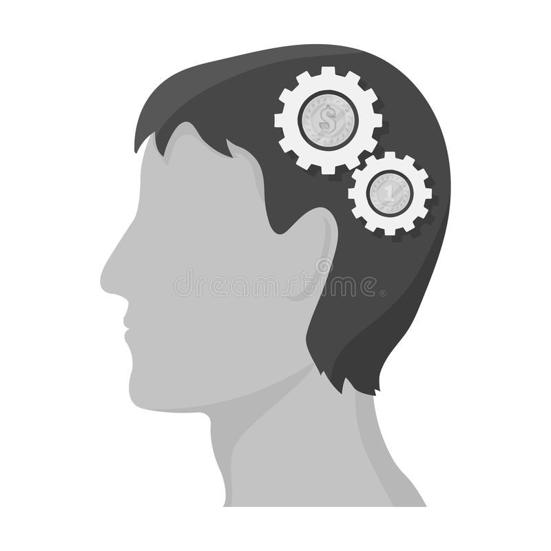 The head of a man with gears. The generator of ideas and thoughts single icon in monochrome style vector symbol stock. Illustration royalty free illustration