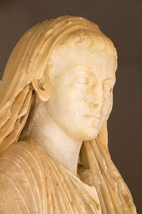 Head of a marble Roman statue royalty free stock photos