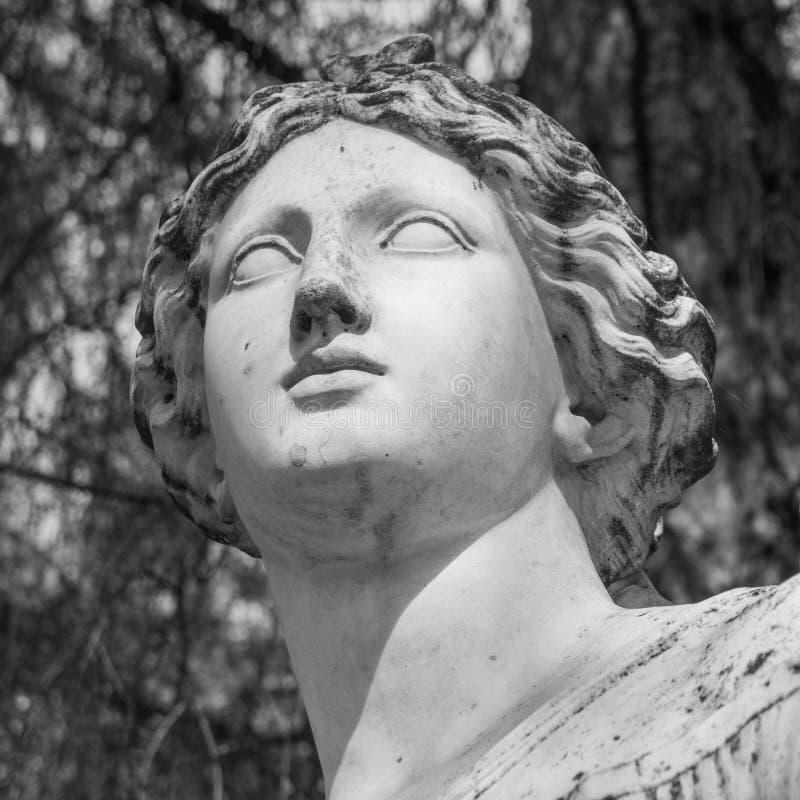 Head marmorstaty av kvinnan i parkera arkivbild