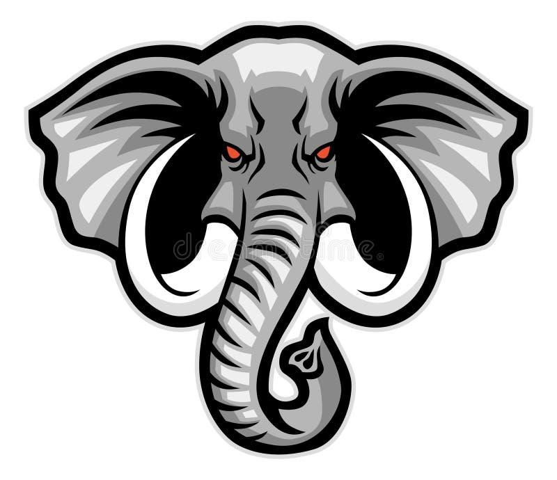 Head maskot för elefant royaltyfri illustrationer