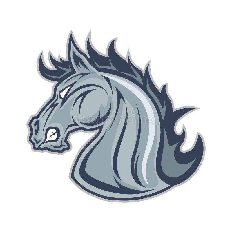 Head maskot för häst eller för mustang vektor illustrationer