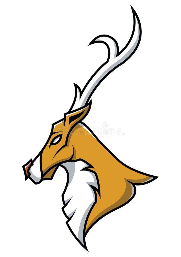 Head maskot för hjortar på stock illustrationer