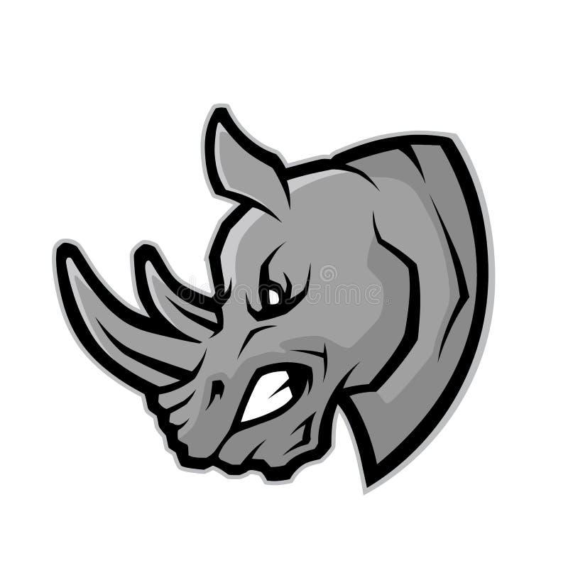 Head maskot för noshörning vektor illustrationer