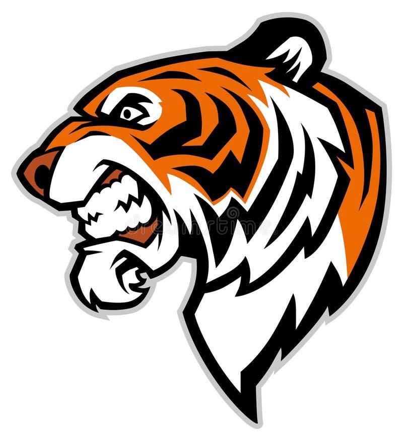 Head maskot för tiger stock illustrationer