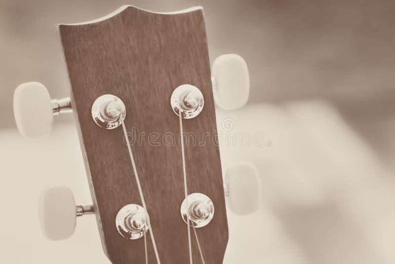 Head materiel av den wood gitarren arkivbilder