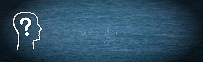 Head med frågefläcken på blå svart tavlabakgrund vektor illustrationer