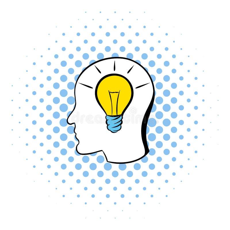 Head med symbolen för den ljusa kulan, komiker utformar stock illustrationer