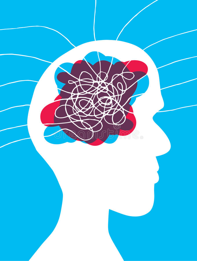 Head mess with lots of thoughts entering his mind. Cartoon illustration of a messed up brain with thoughts tied in his mind vector illustration