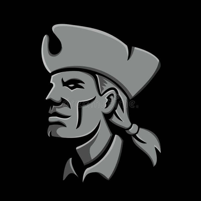 Head metallisk symbol för patriot royaltyfri illustrationer
