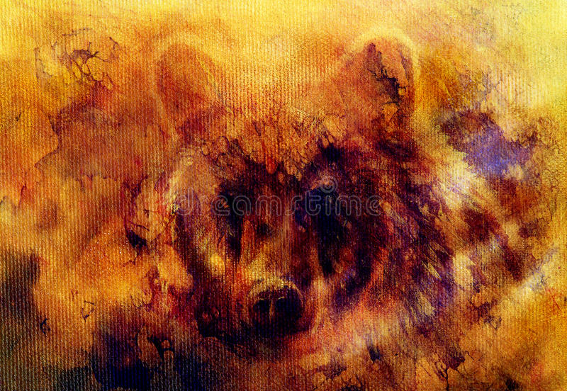 Head of mighty brown bear, oil painting on canvas and graphic collage. Eye contact. royalty free illustration
