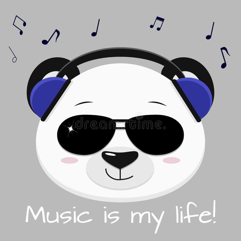 Head musiker för panda i blå hörlurar och svarta exponeringsglas, i stilen av tecknade filmer royaltyfri illustrationer