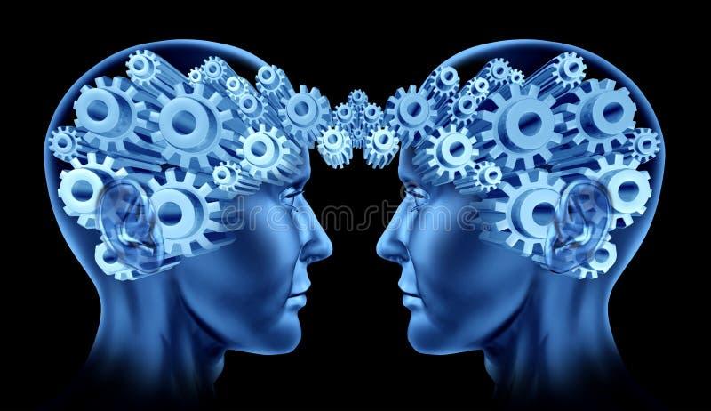 head nätverkande för hjärnkommunikationer stock illustrationer
