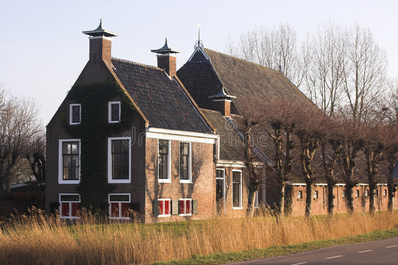 Head-neck-body farm. Original Frisian kop-hals-romp (head-neck-body) farm royalty free stock photo