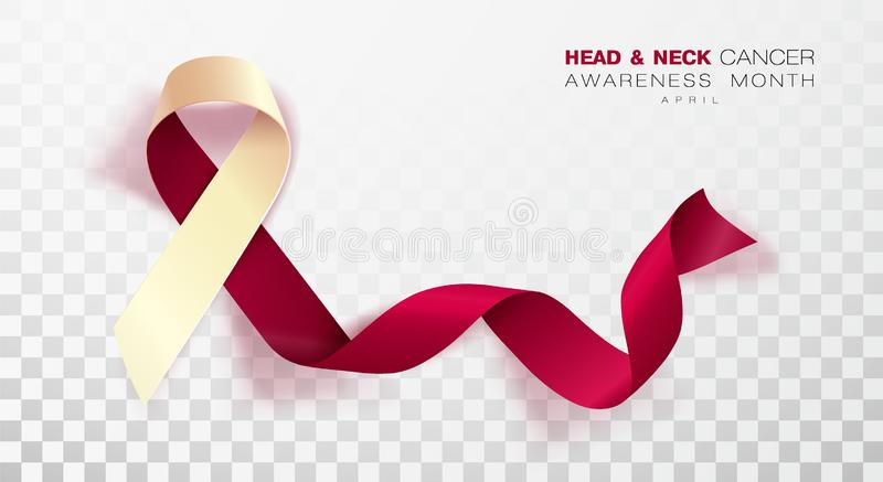 Head and Neck Cancer Awareness Month. Burgundy and Ivory Color Ribbon Isolated On Transparent Background. Vector Design Template. For Poster. Illustration stock illustration