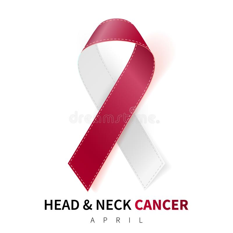Head and Neck Cancer Awareness Month. Realistic Burgundy Ivory ribbon symbol. Medical Design. Vector illustration vector illustration