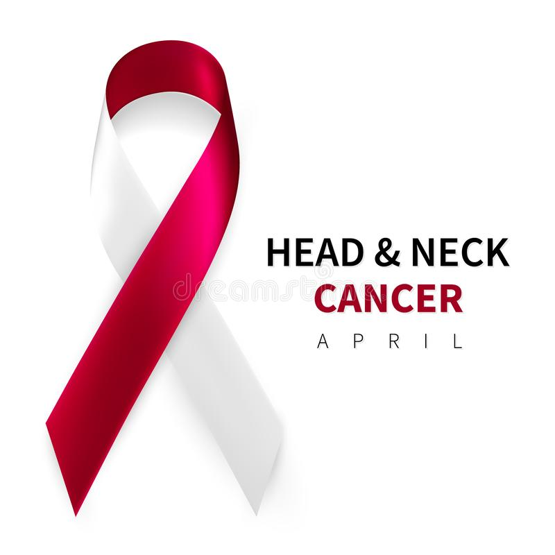 Head and Neck Cancer Awareness Month. Realistic Burgundy Ivory ribbon symbol. Medical Design. Vector illustration.  royalty free illustration