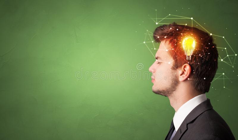 Head with new idea and network concept stock photo