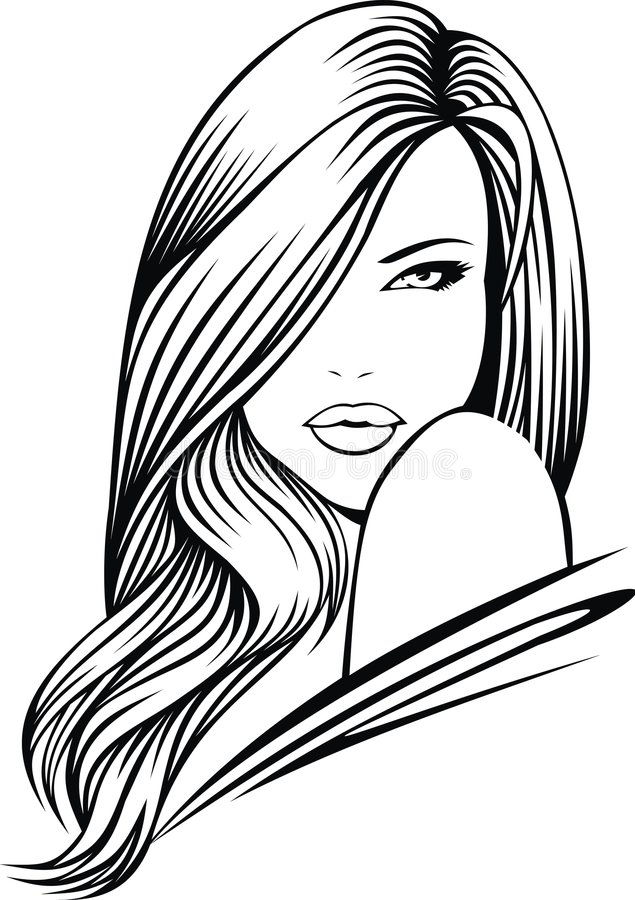 Head of nice girl vector illustration