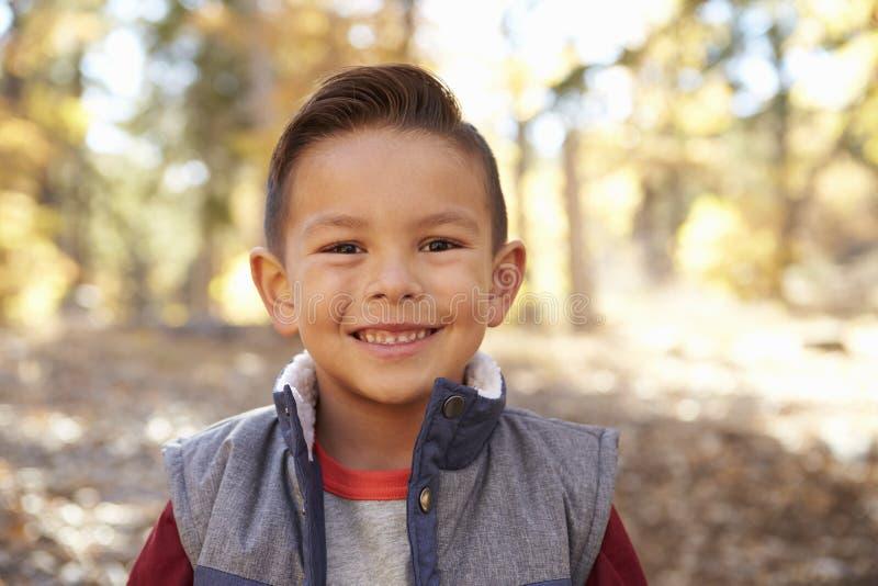 Head och skuldrastående av en latinamerikansk pojke i en skog royaltyfri foto