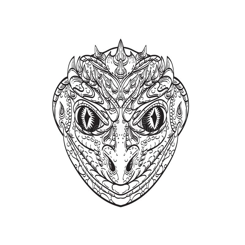 Free Head Of A Reptilian Humanoid Or Anthropomorphic Reptile Part Human Part Lizard Line Art Drawing Stock Photos - 200843723