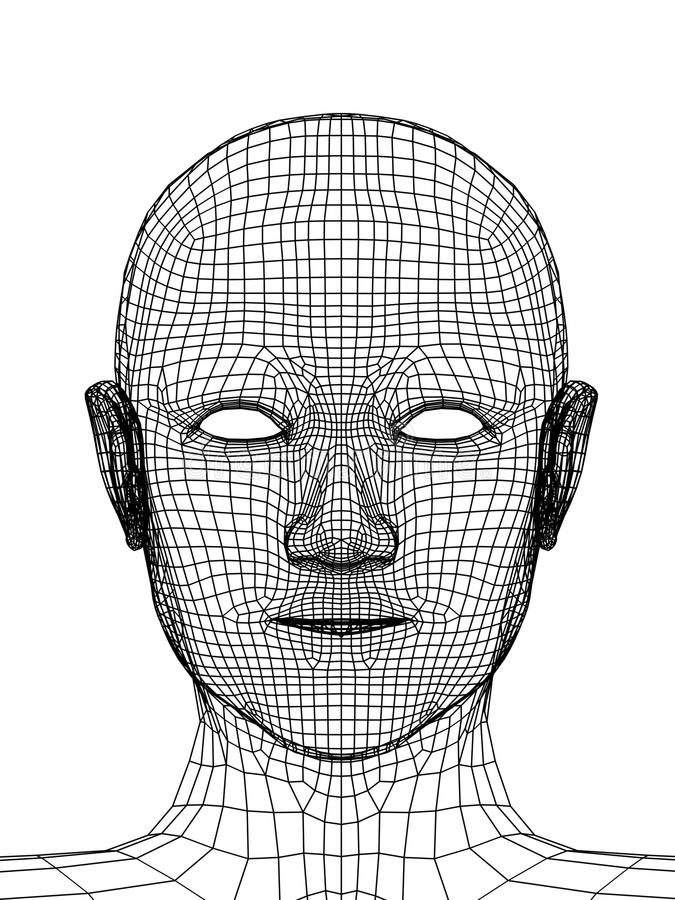 Free Head Of The Person From A 3d Grid Stock Image - 9494141
