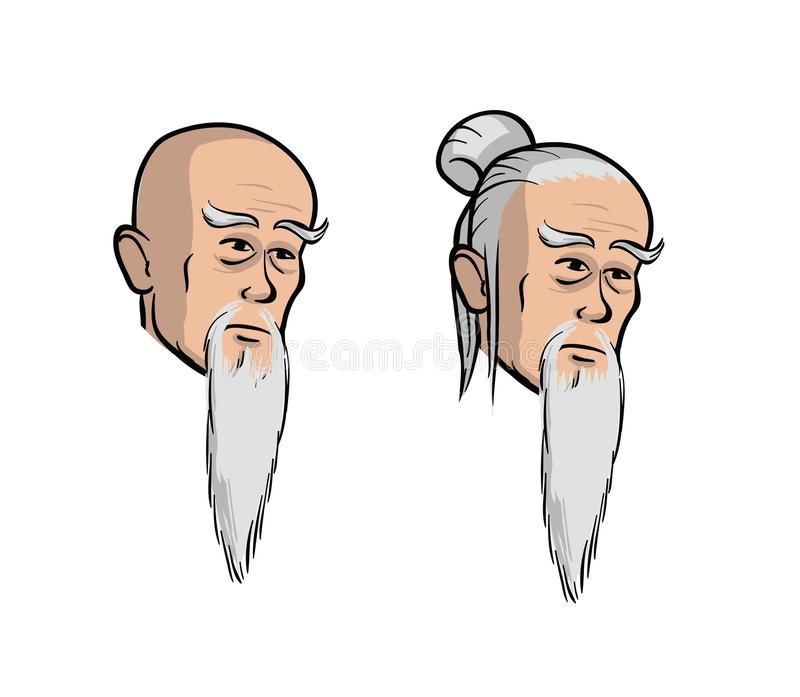 Head of an old asian men, cartoon isolated vector illustration. Set of two isolated heads. Head of an old asian men, cartoon isolated vector illustration. Set royalty free illustration