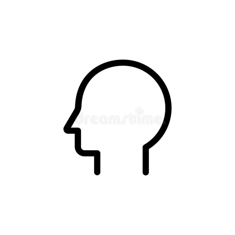 Head outline icon. On transparent background stock illustration