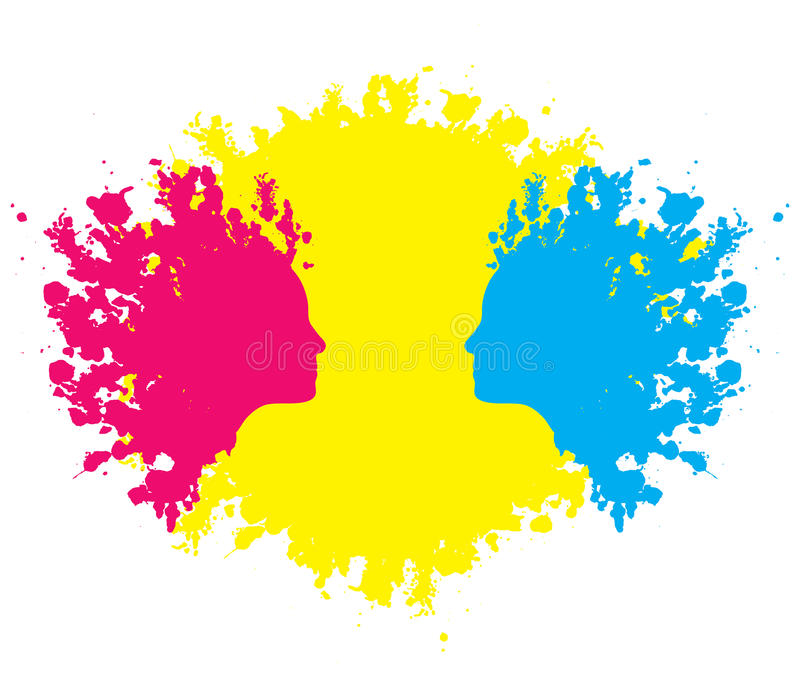 Head outlines in paint blotches. Female faces formed in red and blue paint blotches against yellow stock illustration