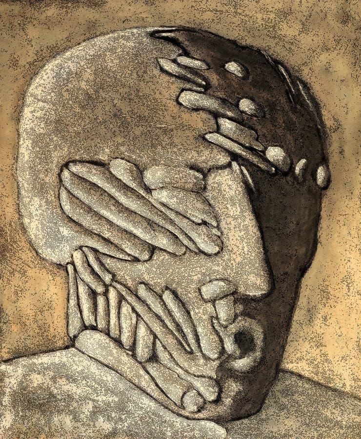 head overkligt royaltyfri illustrationer